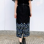 【LOKITHO】FLOWER EMBROIDERY TIGHT SKIRT